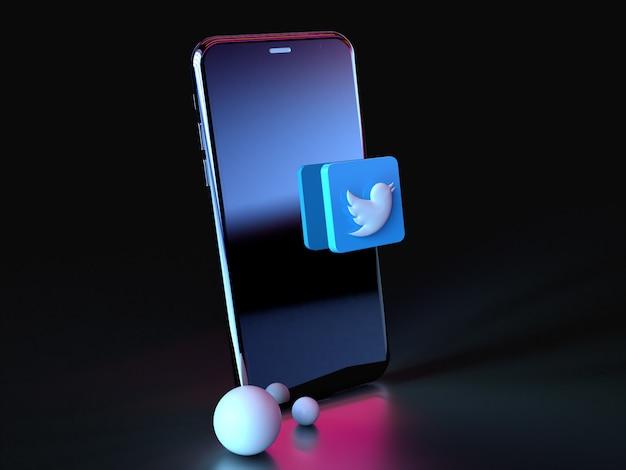 Twitter-logo over smartphonepictogram 3d premium foto 3d glanzende matte rendering