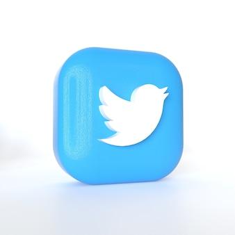 Twitter-toepassingslogo met 3d-rendering