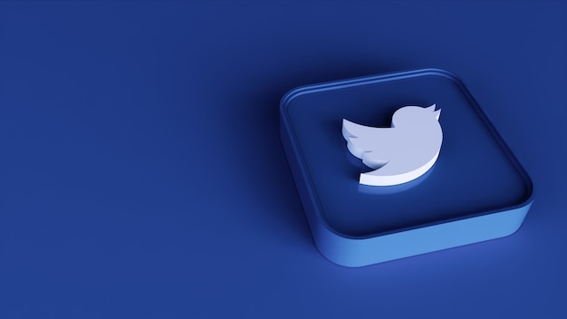 Twitter vierkante knop pictogram 3d met kopie ruimte. 3d-weergave