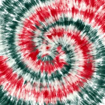 Tye dye rood groen witte spiraal achtergrond.