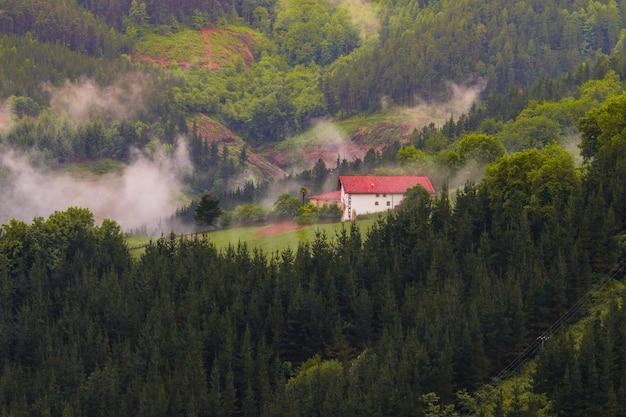 Typisch baskisch gehucht omringd door de mist, in het baskenland.