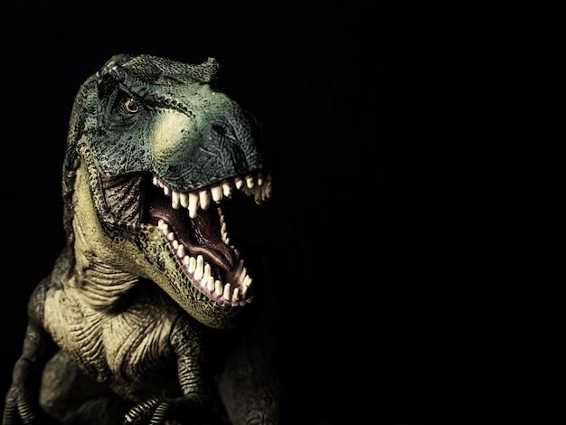 Tyrannosaurus t-rex dinosaurus op zwart