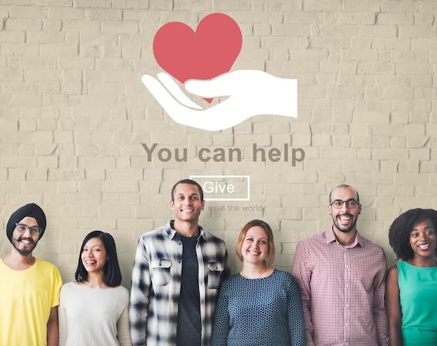 U kunt helpen het welzijnsdonatieconcept te geven