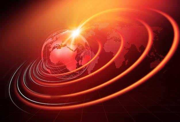 Uitbreidende golvende lijnen rond de aardebol