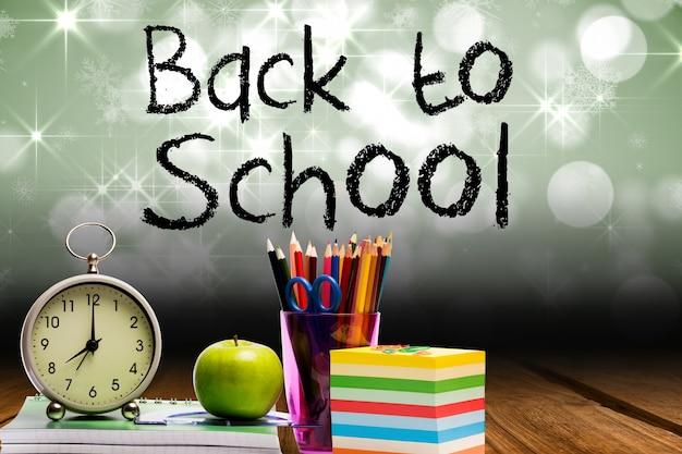 Uitdrukking terug naar school met schoolspullen