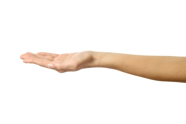 Uitgestrekte vrouwelijke hand. vrouw hand met franse manicure gebaren geïsoleerd op een witte muur. onderdeel van series