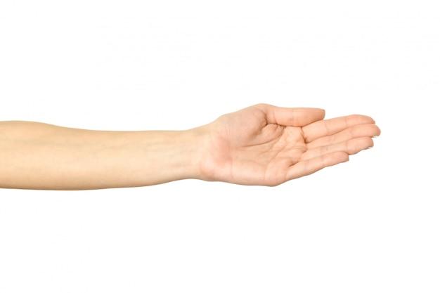 Uitgestrekte vrouwelijke hand. vrouwenhand gesturing geïsoleerd op wit