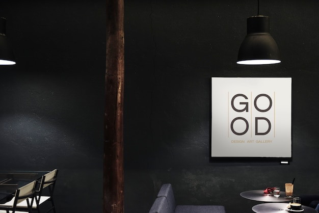 Uithangbord in een donker restaurantmodel