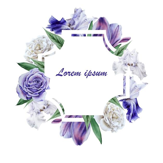 Uitnodigingskaart met bloemen. hand getekend.