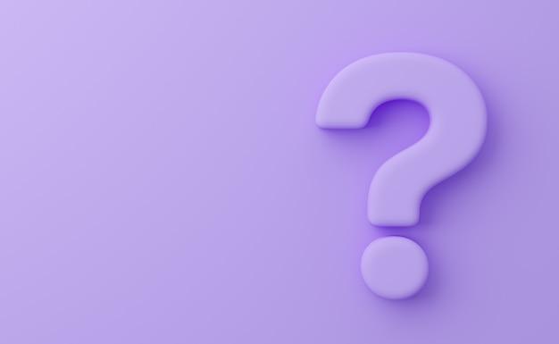 Uitpuilend vraagteken op violette achtergrond Premium Foto