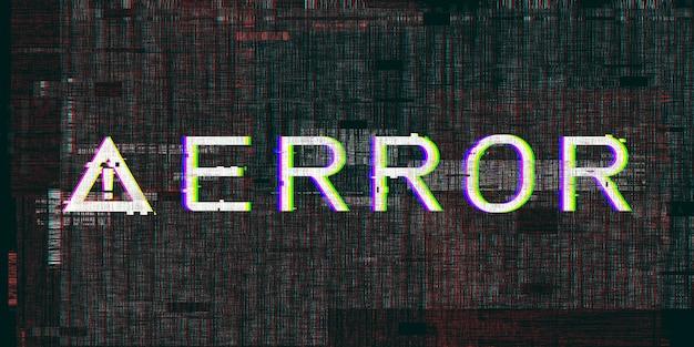 Uitroepteken glitch-effect falend systeem computergevarensymbool cyberpunk digitale pixelfout