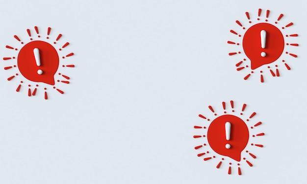 Uitroepteken rode en witte tekstballon teken waarschuwing aandacht teken in de vorm van covid19