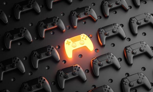 Uitstekend concept. gloeiende gamepad tussen meerdere zwarte joysticks 3d-rendering als achtergrond