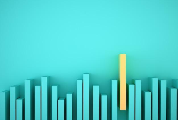 Uitstekend geel staafdiagram onder blauw staafdiagram op lichtblauw