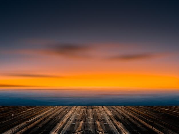 Uitstekende blauwe hemel en wolken met oude houten vloerachtergrond.
