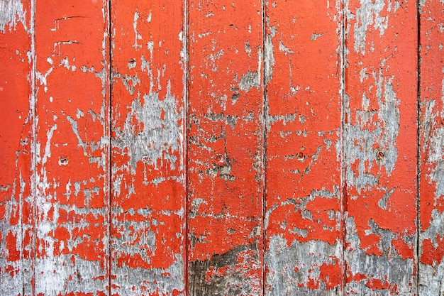 Uitstekende houten raads oranje kleur geschilderde houten muur als achtergrond of textuur