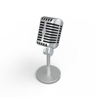 Uitstekende zilveren microfoon die op wit wordt geïsoleerd