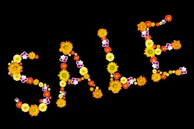Uitverkoop. decoratieve letters van kleurenbloemen
