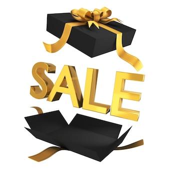Uitverkoop. verkoop in zwarte geschenkdoos met gouden symbolen en lint. promotionele banner voor de uitverkoop van een warenhuis. 3d-weergave. geïsoleerd op een witte achtergrond.
