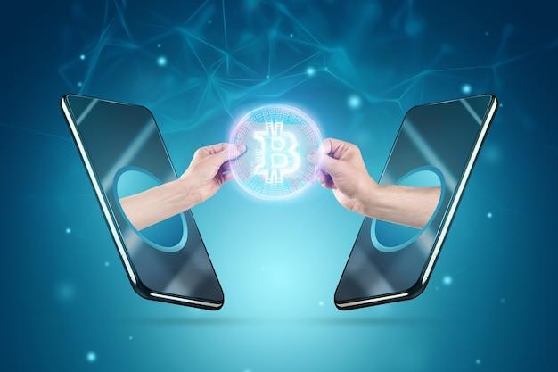 Uitwisseling van bitcoins, handen transfer bitcoin van smartphone naar smartphone, betaling met cryptocurrency, bitcoin mining, internetbankieren. digitale valuta, blockchain-technologie.