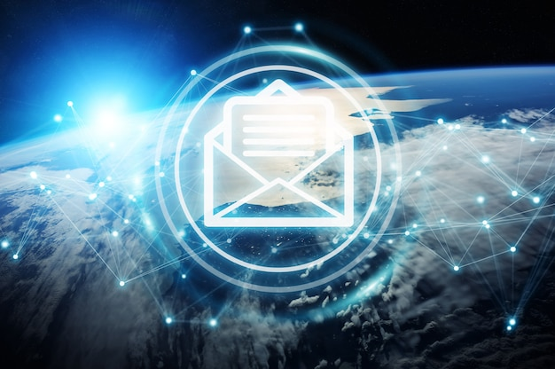 Uitwisseling van e-mails op 3d-weergave op de planeet aarde