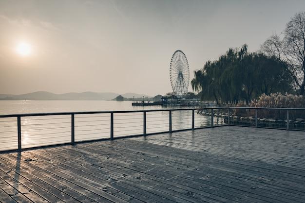 Uitzicht in wuxi lihu natuurpark