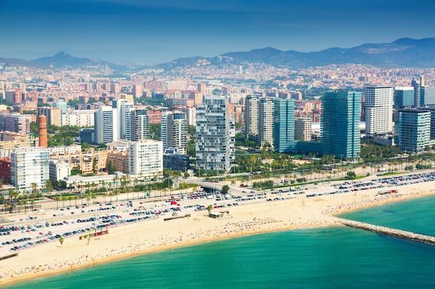 Uitzicht op barcelona vanuit de helikopter