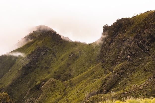 Uitzicht op bergen met extreme kliffen