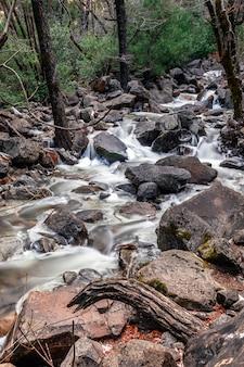 Uitzicht op bridalveil fall in yosemite national park