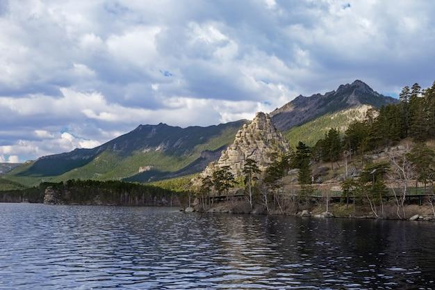 Uitzicht op burabay (borovoe) lake en prachtige berg okzhetpes. burabay national nature park in het noorden van kazachstan. schilderachtig berglandschap.