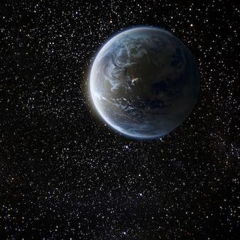 Uitzicht op de aarde vanaf de maan. elementen van deze afbeelding geleverd door nasa
