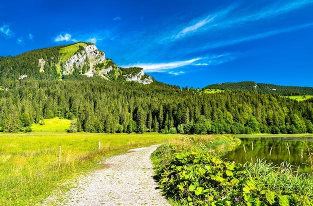 Uitzicht op de berg brunnelistock bij het meer van obersee in de zwitserse alpen