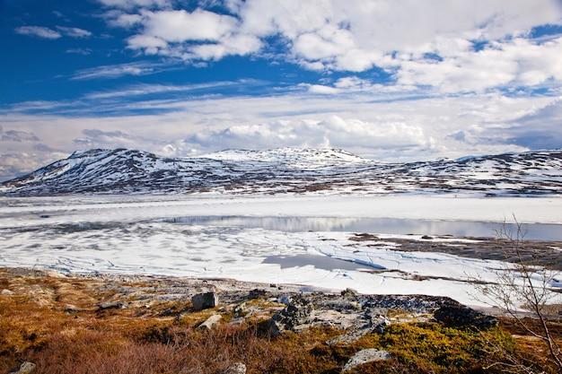 Uitzicht op de bergen op aursjovegen road, noorwegen