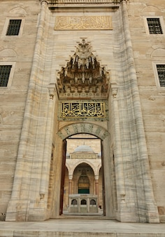 Uitzicht op de blauwe moskee door de open poort, istanbul, turkije.