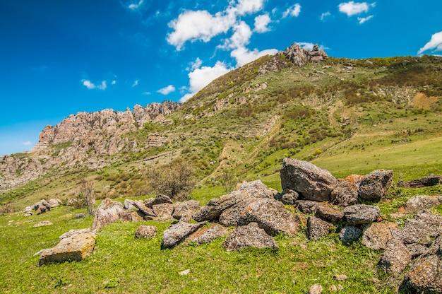 Uitzicht op de enorme rotswanden en de groene vallei bedekt met bos.