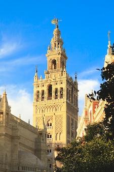 Uitzicht op de giralda-toren met blauwe hemel