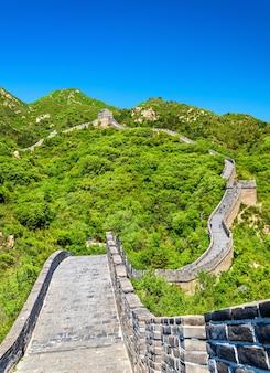 Uitzicht op de grote muur in badaling - peking, china