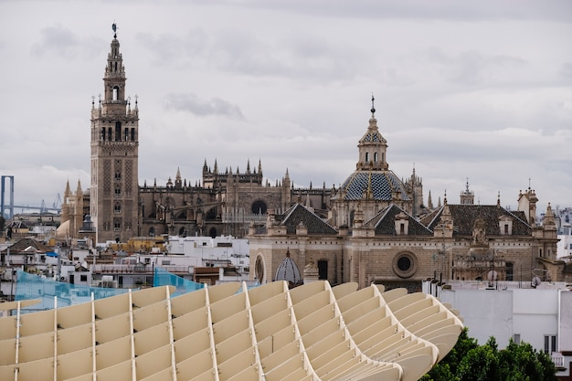 Uitzicht op de kathedraal en de giralda-toren. sevilla, spanje.