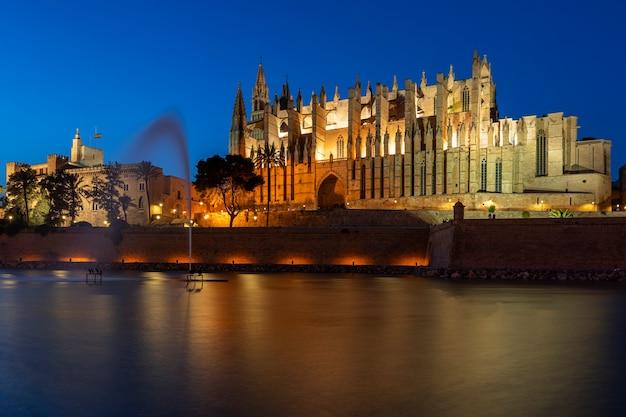 Uitzicht op de kathedraal van palma de mallorca 's nachts, spanje, europa