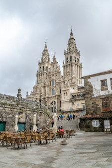 Uitzicht op de kathedraal van santiago de compostela.