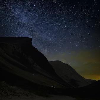 Uitzicht op de melkweg in een bergdal