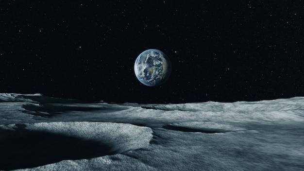 Uitzicht op de planeet aarde vanaf het oppervlak van de maan. airless ruimte.
