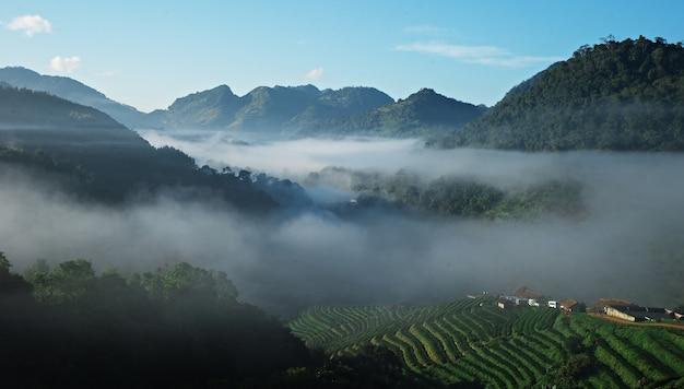 Uitzicht op de prachtige zee van wolk tussen een berg en heuvel pens dorp in thailand.