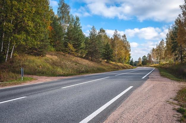 Uitzicht op de snelweg weg in de herfst. reizende achtergrond. asfaltweg die door het bos gaat. letland. baltisch.