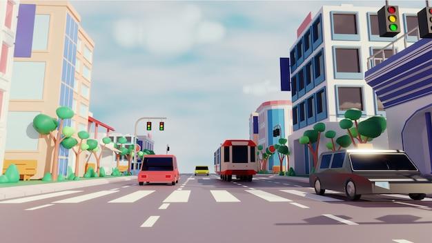 Uitzicht op de stad met voertuig rijden langs de weg en moderne gebouwen.
