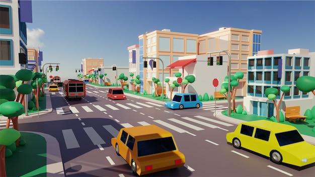 Uitzicht op de stad met voertuig rijden langs de weg, moderne gebouwen en zebrapad.