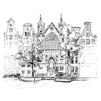 Uitzicht op de stad van amsterdamse gracht, huizen en kerk