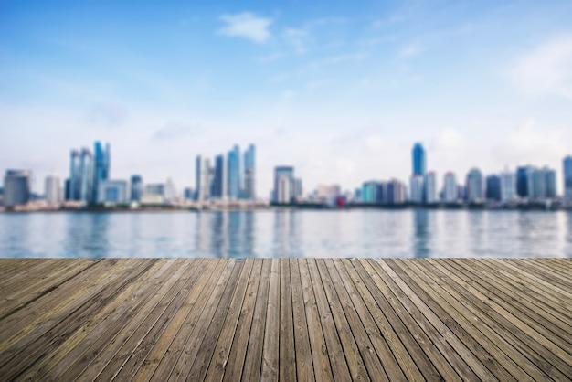 Uitzicht op de stad van de zeehaven