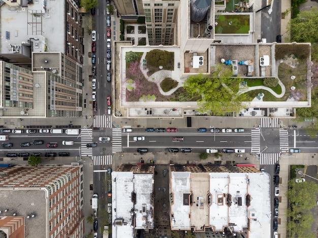 Uitzicht op de stad vanaf drone
