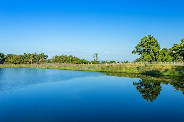 Uitzicht op de weg reservoir groene boom en blauwe hemelachtergrond.